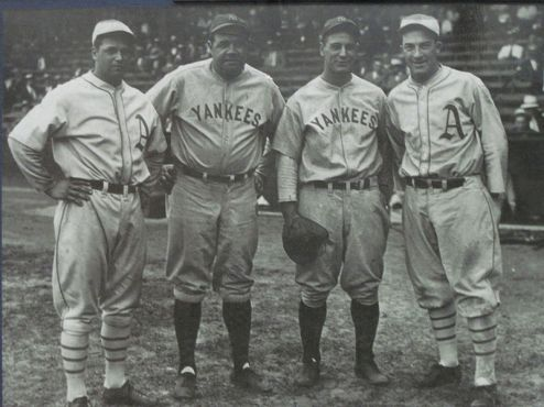 Fans can vote for (L to R) Jimmy Foxx, Babe Ruth, Lou Gehrig and Mickey Cochrane. Despite being in the Hall of Fame, Cochrane will have to be a right-in selection.