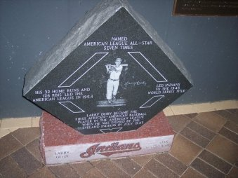 Larry Doby is honored at Progressive Field in Cleveland.