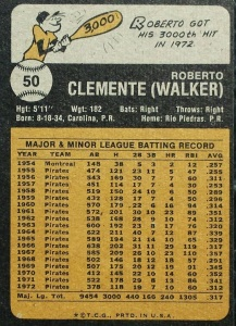 The back of Clemente's 1973 card.