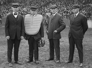 Bill Dinneen (R) with the other umpires in the 1916 World Series (L to R) Ernie Quigley, Tom Connolly, Hank_O'Day. Connolly is a member of the National Baseball Hall of Fame.