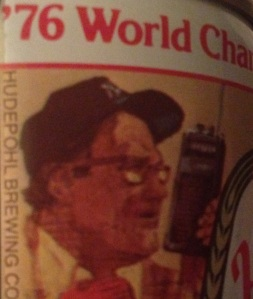 Yogi Berra appeared on this commemorative beer can released by Cincinnati's Hudepohl Brewing Co.