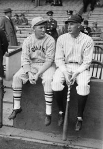 The Meusel brothers played in three World Series against each other from 1921-1923. Irish is on the left and Bob on the right.