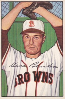 Gene Bearden's 1952 Bowman card when he was with the St. Louis Browns.