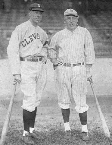 The Johnston brothers were the first siblings to compete against each other in the World Series in 1920. Doc is on the left, while Jimmy is on right.